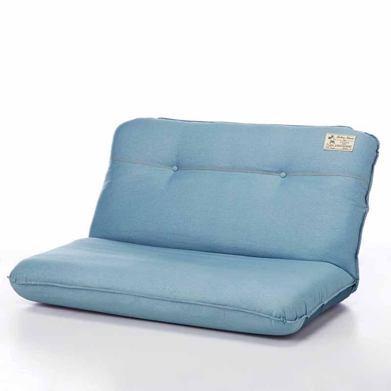 【Disney】ディズニー デニム調のボリューム座椅子 「ライトブルー」 ◆ ワイド ◆ ◇ 家具 収納 座 椅子 いす ◇
