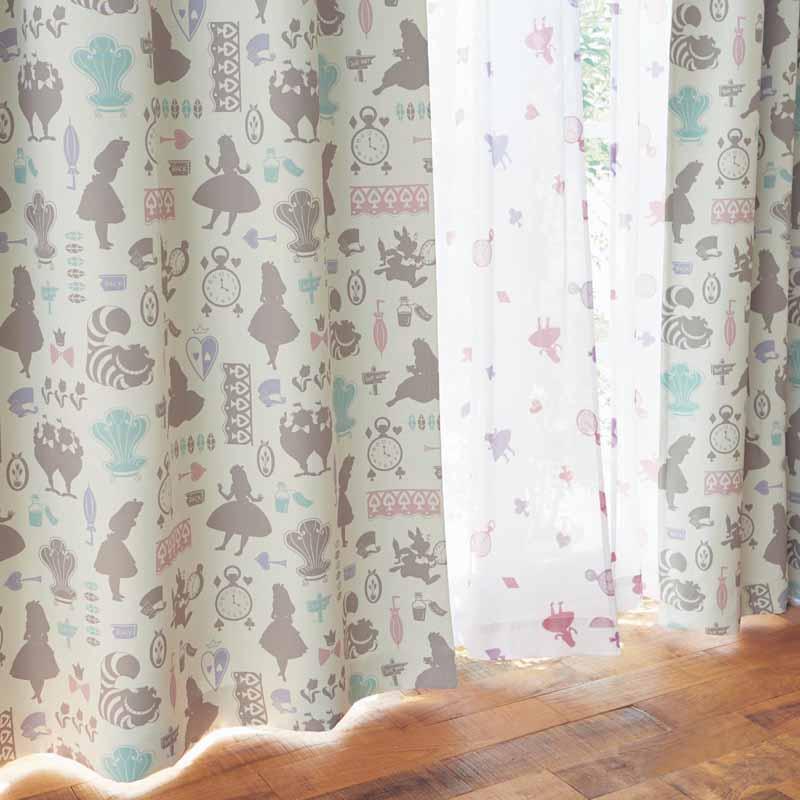 【Disney】ディズニー 遮光カーテン&UVカット・ミラーレースカーテンセット 「ふしぎの国のアリス」 ◆ 約100×192(4枚) ◆ ◇ カーテン リビング 寝室 子供部屋 厚地 ドレープ おしゃれ デザイン かわいい ◇