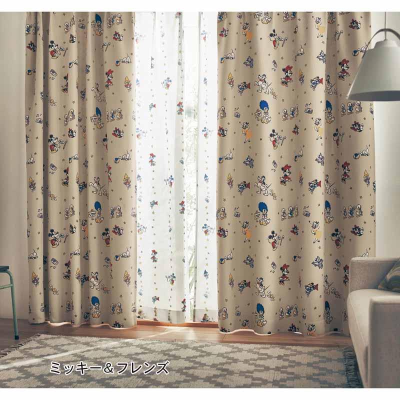 【Disney】ディズニー 遮光カーテン&UVカット・ミラーレースカーテンセット 「ミッキー&フレンズ」 ◆ 約100×210(4枚) ◆ ◇ カーテン リビング 寝室 子供部屋 厚地 ドレープ おしゃれ デザイン かわいい ◇