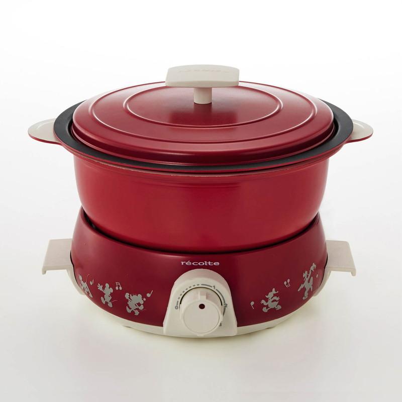 【Disney】ディズニー 煮る・炊く・蒸す・揚げる・焼くができる5WAY卓上調理器 ポットデュオフェット 「レッド」 母の日 ギフト 家電 生活家電 リビング 寝室 女性