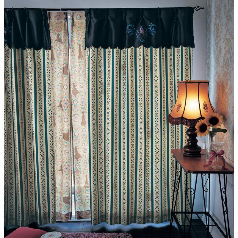 【Disney】ディズニー 刺繍とプリントのドレスイメージカーテン(アナ) ◆ 約100×150(2枚) ◆ ◇ カーテン リビング 寝室 子供部屋 厚地 ドレープ おしゃれ デザイン かわいい ◇