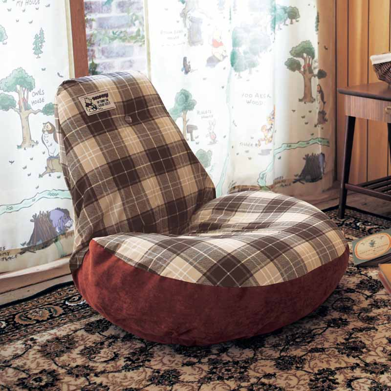 【Disney】ディズニー チェック柄のふわふわ座椅子 ◇ くまのプーさん 家具 収納 座 椅子 いす ◇
