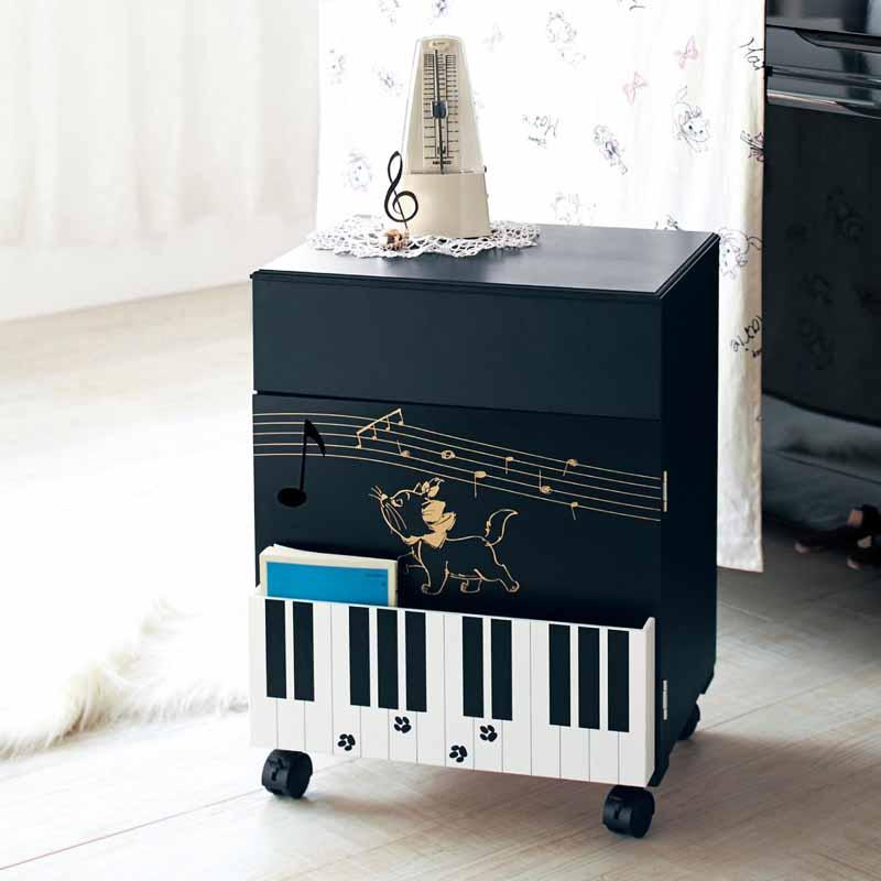 【Disney】ディズニー ピアノワゴン 「ブラック」 ◇ 家具 収納 リビング キャビネット リビング ボード チェスト ◇