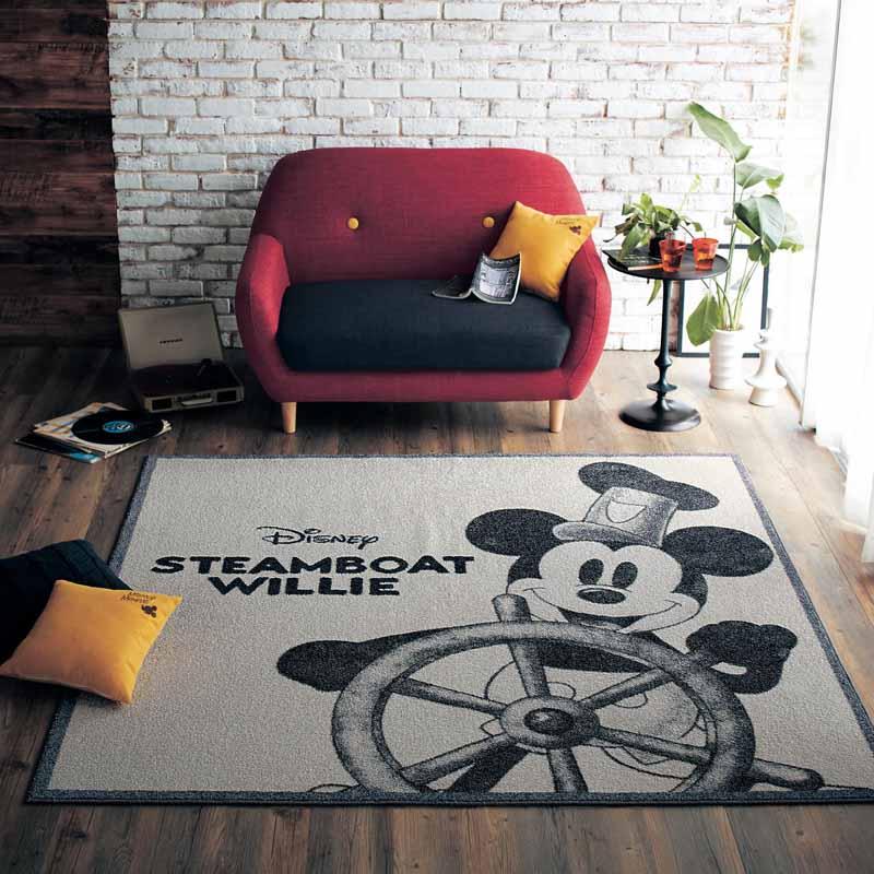 【Disney】ディズニー ナイロン素材のプリントラグ ◆ 約190×190 ◆ ◇ ラグ カーペット 敷物 リビング おしゃれ かわいい デザイン マット ◇