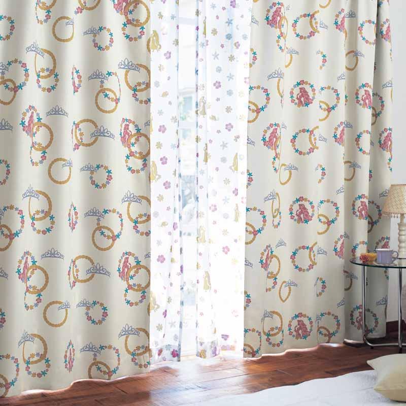 【Disney】ディズニー 遮光カーテン&UVカット・ミラーレースカーテンセット 「ラプンツェル」 ◆ 約100×210(4枚) ◆ ◇ カーテン リビング 寝室 子供部屋 厚地 ドレープ おしゃれ デザイン かわいい ◇