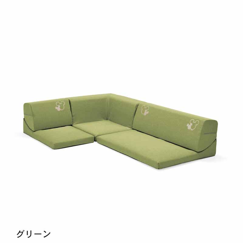 【Disney】ディズニー コーナーローソファー3点セット 「グリーン」 ◆ グリーン ◆ ◇ 家具 収納 ソファ 椅子 いす ◇