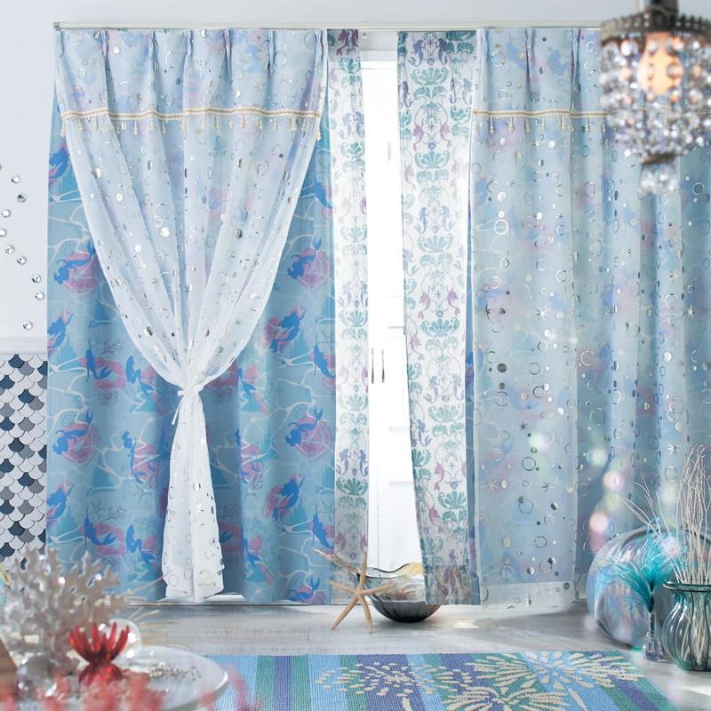 【Disney】ディズニー 箔プリントの2重遮光カーテン ◆ 約100×178(2枚) ◆ ◇ カーテン リビング 寝室 子供部屋 厚地 ドレープ おしゃれ デザイン かわいい ◇