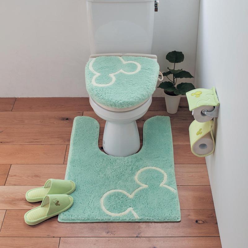 ベルメゾン ディズニー ファンタジー ショップ Disney トイレのニオイに特化した消臭トイレマット単品 ミッキーモチーフ 標準マット 人気の定番 便所 安売り トイレ お手洗い フタカバーなし ミントグリーン おしゃれ