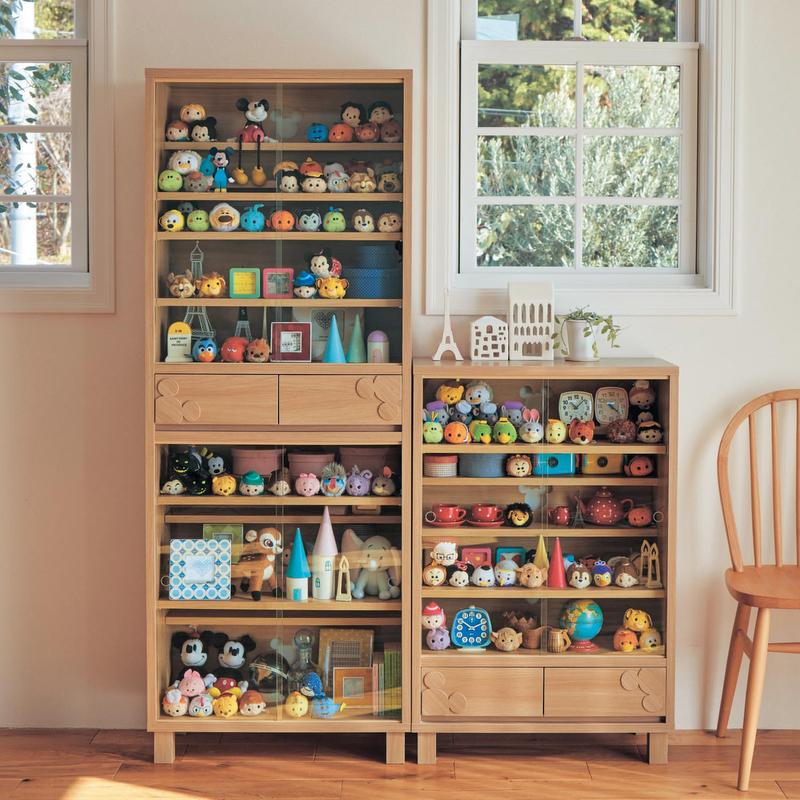 【Disney】ディズニー ダブル棚板のコレクションキャビネット ◆ 90.5 ◆ ◇ 家具 収納 リビング キャビネット リビング ボード チェスト ◇