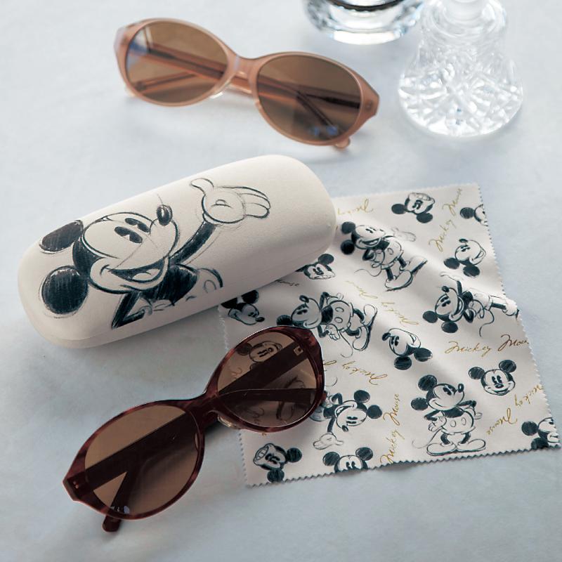売り出し ベルメゾン ディズニー ファンタジー ショップ ピンクベージュ Disney 鯖江製メラニンレンズファッション用グラス ケース付き ミッキーマウス 眼鏡 おしゃれ 海外限定 レディース 女性 サングラス アイウェア メガネ めがね