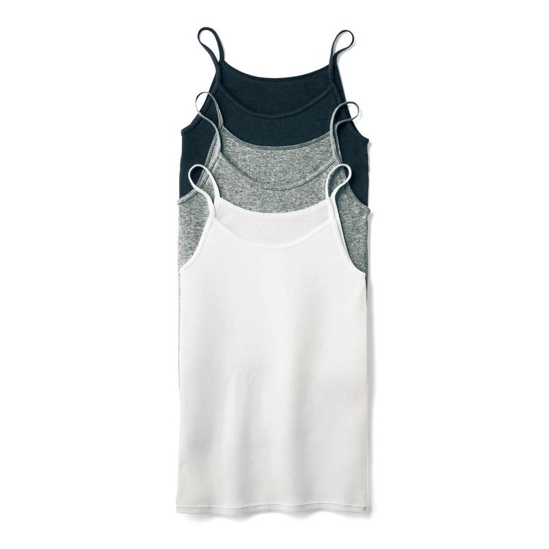 ベルメゾン 大人ファッション my necesa 綿 100% 激安通販ショッピング キャミソール3色セット 3色セット 年間定番 ブラック 杢グレー S タンクトップ レディース M ホワイト カットソー L Tシャツ LL キャミソール