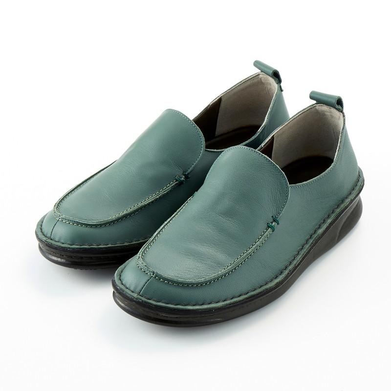 ベルメゾン 大人ファッション ベネビス 日本製 高級品 本革 フットベッド ハイカット モカ スリッポン グリーン 21.5 22 23.5 22.5 トレンド サボ 靴 レディース 24.5 25 24 23 シューズ 女性