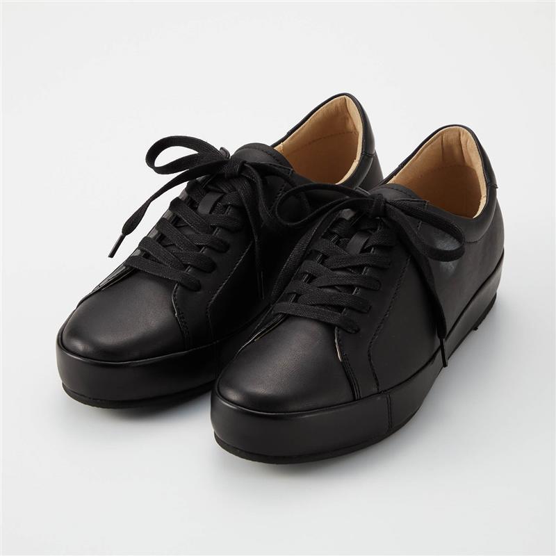 ベルメゾン 大人ファッション べネビス BENEBIS 本革 ふんわり大人 スニーカー ブラック 21.5 22 女性 23.5 22.5 23 24.5 25 靴 レディース 24 まとめ買い特価 商品 シューズ