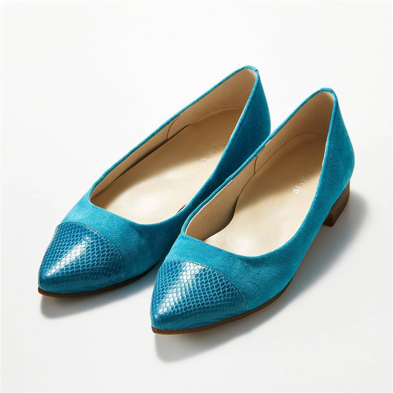 公式 ベルメゾン 人気の製品 大人ファッション 市場店 ベネビス BELLE MAISON 本革やわらかポインテッドフラットパンプス 日本製 ターコイズ スエード×パイソン調 21.5 22 22.5 パンプス 仕事 23.5 24.5 靴 23 オフィス 25 24 レディース Seasonal Wrap入荷 おしゃれ シューズ