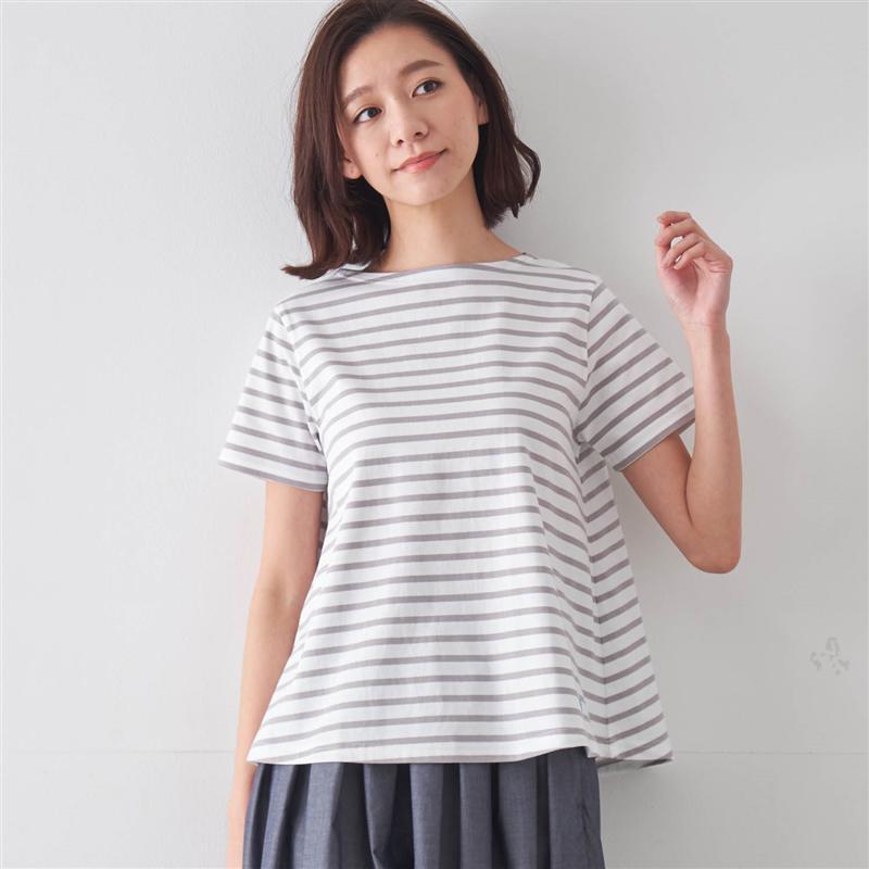 AラインTシャツホワイト×マリン1 M2 L◇ ベルメゾン レディース ファッション カットソー トップス Tシャツ ◇0O8nXPkw