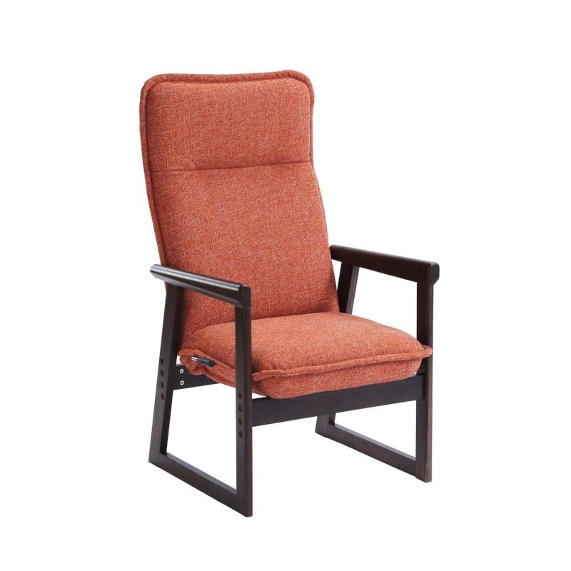 ベルメゾン 色が選べるハイバック高座椅子 「ブラウン×オレンジ」◇ 収納 座 椅子 いす リビング ハイバック 座椅子 ロー ◇