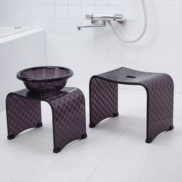 【BELLE MAISON】ベルメゾン 風呂いす 湯桶 クリアチェックのバスチェアシリーズ アンバー ◆バスチェア◆ ◇◇