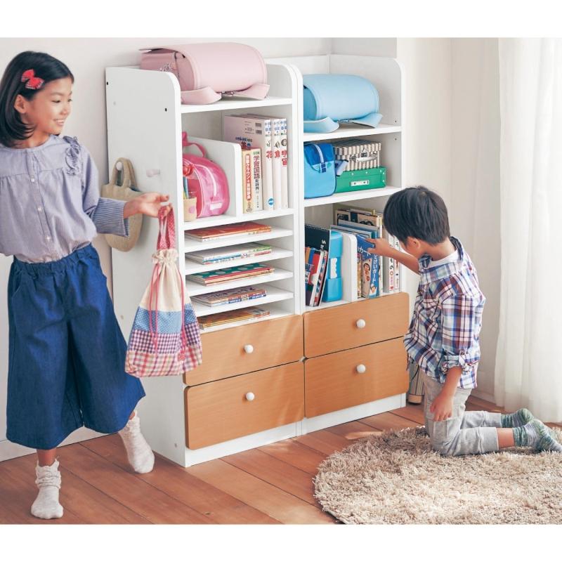 公式 家具 インテリアのベルメゾン 新商品 商品追加値下げ在庫復活 新型 市場店 新生活 新入学 に キッズ収納ラック B ツボミファニチャー ホワイト×ナチュラル