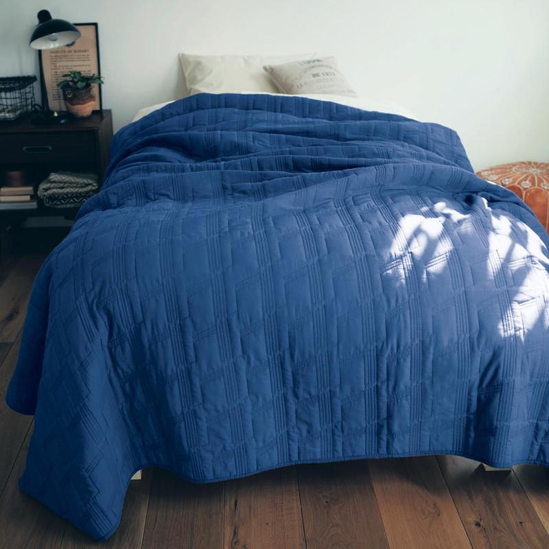 ベルメゾン じっくり洗いをかけた綿100%のウォッシュキルトマルチカバー 「ブルー」◆約190×270(サイズ(cm))◆◇ フリー クロス マルチ カバー 汚れ 防止 ソファ ソファー ベッド おしゃれ かわいい デザイン フィット◇