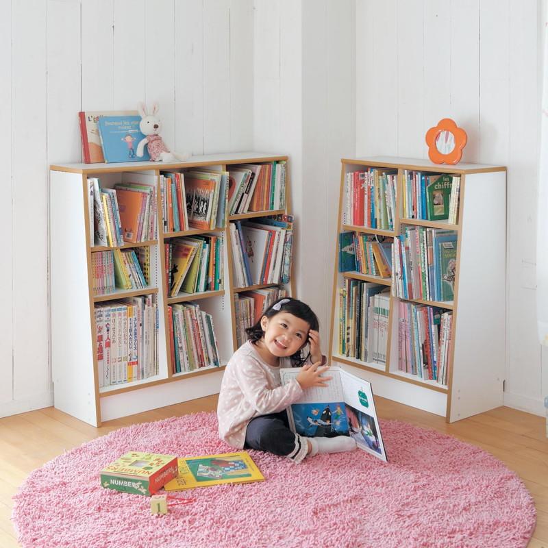 ベルメゾン 1cmピッチ絵本本棚 「ホワイト」◆B/89×90 D/60×115(幅×高さ(cm))◆◇ 子供 子供用 家具 収納 キッズ収納 おもちゃ 絵本収納 棚 ラック 整理 こどもツボミファニチャー ◇