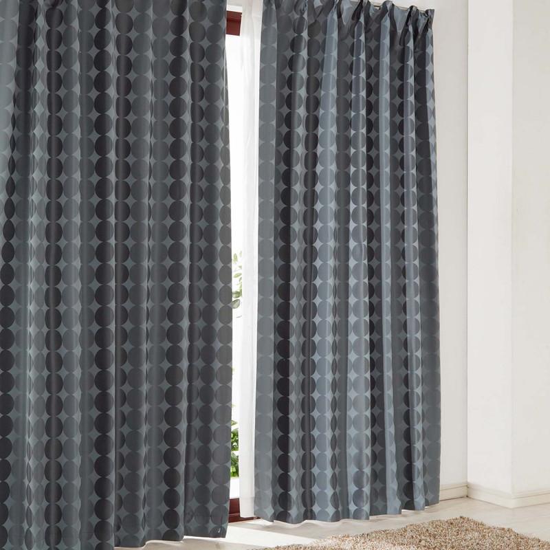 ベルメゾン サークル柄の遮光・遮熱・防炎・形状記憶カーテン 「グレー」◆約130×200(2枚) 約130×210(2枚) 約150×200(2枚)(幅×丈(cm))◆◇ カーテン リビング 寝室 子供部屋 厚地 ドレープ おしゃれ デザイン かわいい ◇