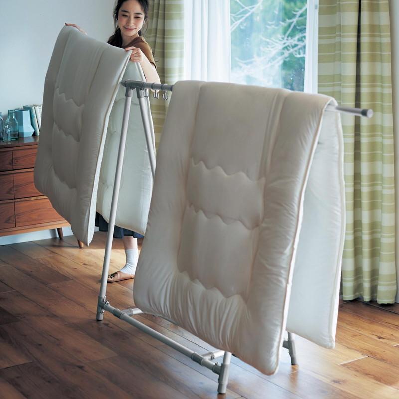 ベルメゾン アルミ製折りたたみ式軽量伸縮布団干し◇ 物干し 布団 ベランダ 室内 ランドリー 屋内 屋外 部屋干し◇