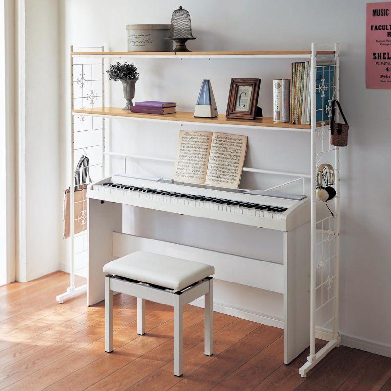 ベルメゾン 伸縮ピアノ上ラック 「ホワイト」 ◇ 家具 収納 リビング 壁 スチール メタル オープン ラック ◇