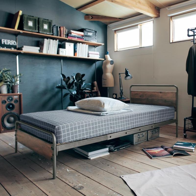 ベルメゾン アイアンフレームのヴィンテージ調高さ調整ベッド◇ 寝具 ベッド 本体 収納 引出し ひきだし 引き出し 大容量 引出bed ◇