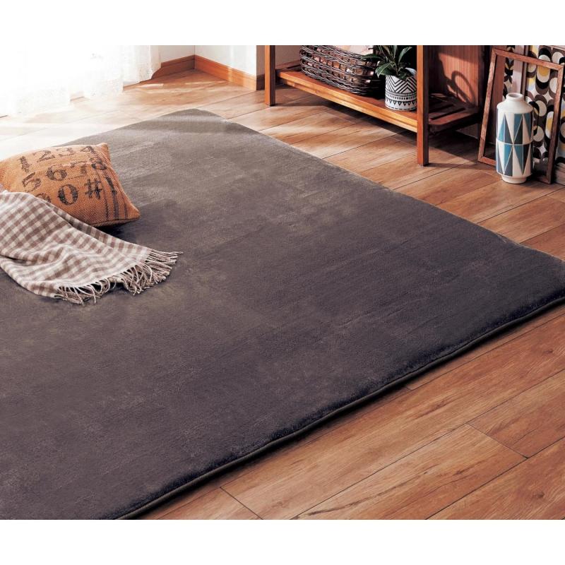 ベルメゾン なめらかフランネルのウレタン入りラグ 「ブラウン」◆約190×240(サイズ(cm))◆◇ カーペット 敷物 リビング おしゃれ デザイン 絨毯 じゅうたん マット 汚れ 傷◇