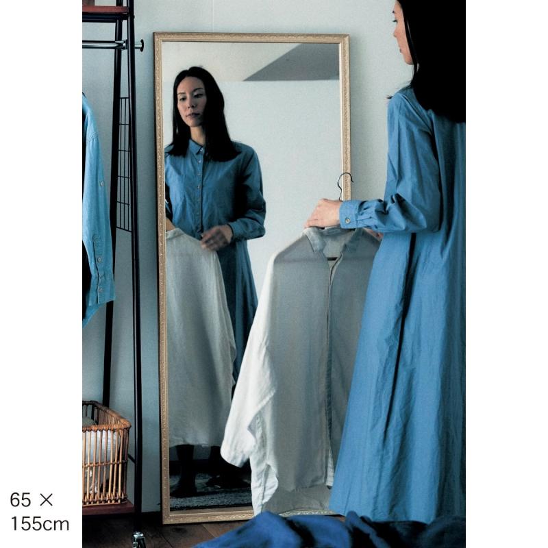 ベルメゾン アンティーク調割れない鏡 ◆65×155(サイズ(cm))◆◇ 家具 ミラー 鏡 スタンド 姿見◇
