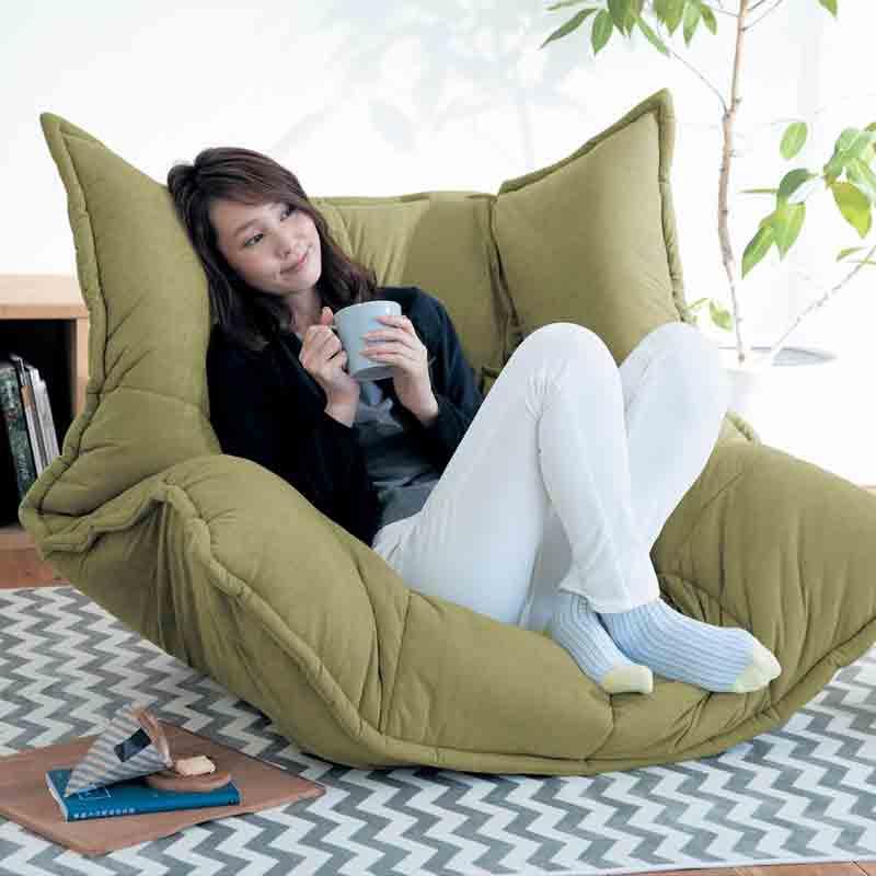 ベルメゾン カバーリングボリューム座椅子 「グリーン」◇ 家具 収納 座 椅子 いす リビング ロー ◇