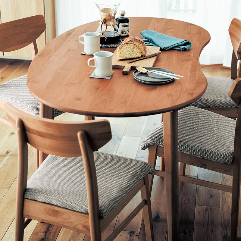 ベルメゾン アルダー材の変形ダイニングテーブル ◆ビーンズ型 半円型◆◇ 家具 収納 ダイニング テーブル セット 椅子 イス チェア ベンチ 食卓 BELLE MAISON DAYS ◇