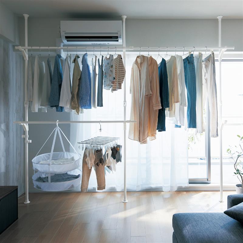 公式 賜物 家具 インテリアのベルメゾン 激安超特価 市場店 ベルメゾン 突っ張り式で壁面いっぱい使える大容量室内物干し 室内 ランドリー 物干し 洗濯