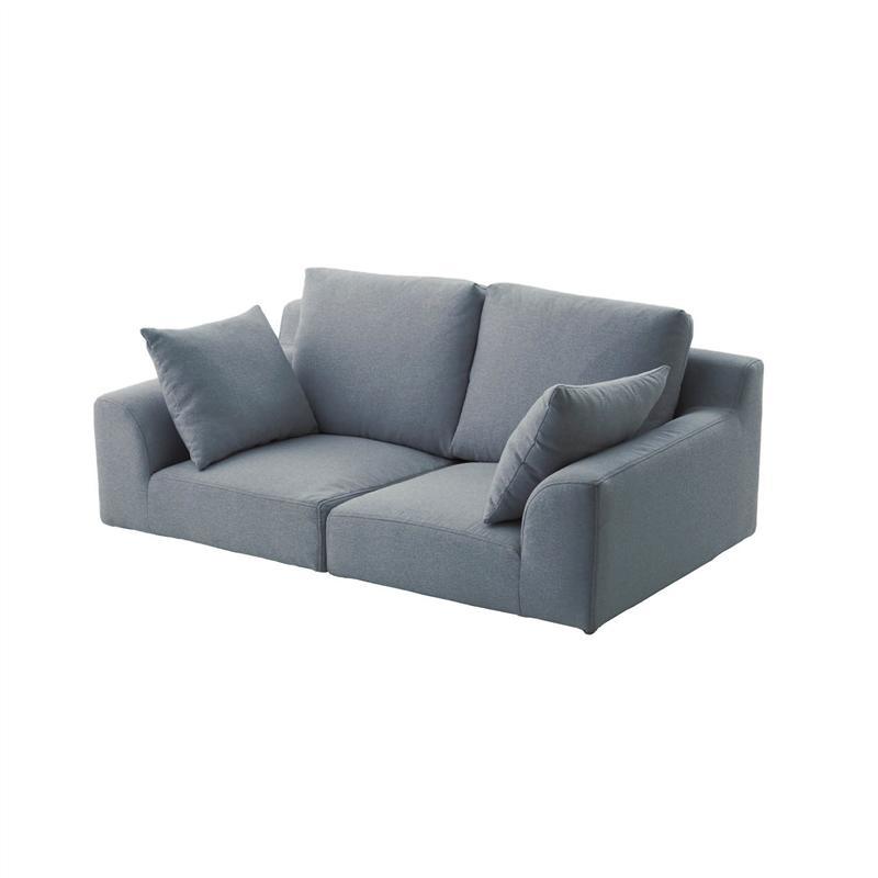 ゆったり眠れるカバーリングローソファー 「グレー」 ◆ 2人掛け ◆ ◇ 家具 収納 ロー ソファ ◇