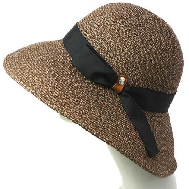 ハット レディース 帽子 女性用 《ベルモード》シルクブレード「クレープハット」大つば【ブラウンMIX】07-184-A ◆広つば◆婦人帽子◆ / CP
