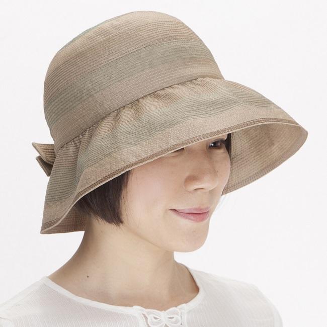 ハット レディース 帽子 女性用 《ベルモード》シルクシャンタンとオーガンジー重ねクローシュ【ベージュ】12-61 ◆定価43000円◆婦人帽子◆ / CP