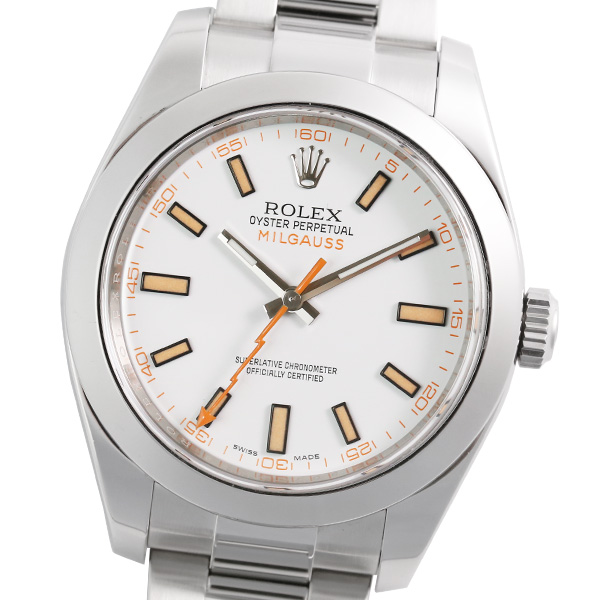 ROLEX ロレックス ミルガウス 116400 (ホワイト) ランダム品番 国際保証書(2017年11月記載)【腕時計】【メンズ】【自動巻】【中古】