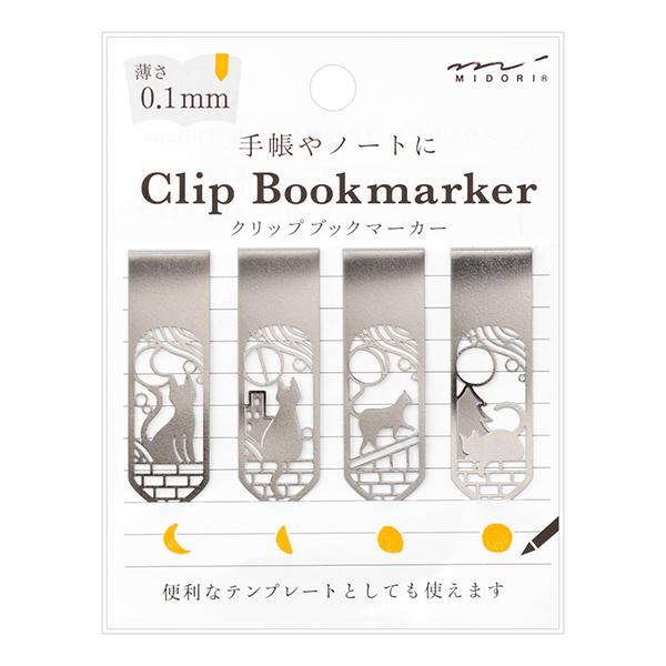 大特価!! メール便対応可能 手帳に便利なアイコンがなぞれるテンプレート付き ブックマーカークリップ ネコと月柄 43372-006 4個入 4型×1 ステンレス製 Clip MIDORI 手帳やノートにクリップできる 薄さ0.1mmのブックマーカー 値下げ Bookmarker ミドリ