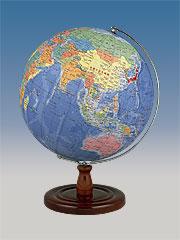 【32cm 地球儀】 昭和カートン(三貴工業) 学習用地球儀 32-GAW 木製台座 32GAW