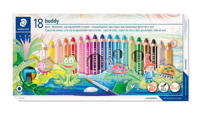 <メール便不可>2才からずっと使える。小さなお子様でも、思う存分お絵かきが楽しめるように設計された太軸色鉛筆。無料ラッピング対応 いろえんぴつ ノリスジュニア(Noris junior)色鉛筆18色セット【140 C18】バディ(buddy)専用鉛筆削り1個付き ステッドラー STAEDTLER (旧品番:140 C18PB)