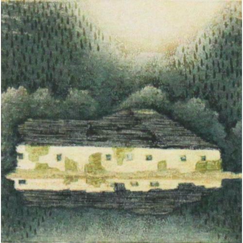 岩切裕子 額付き木版画 a rest(2010年)