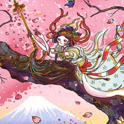 風鈴丸 額付き木版画 『サクラ♥サクヤ』 2009年 【風鈴丸】【サクラサクヤ】【富士山】【木版画】【送料無料】