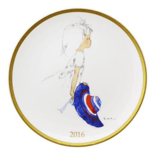 NARUMI ナルミボーンチャイナ いわさきちひろ イヤープレート2016年 『青いつば広帽子を持つ少女』