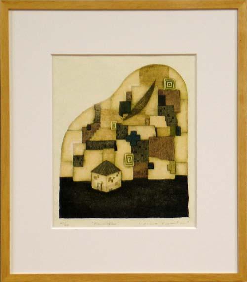 岩切裕子 額付き木版画 Pianissimo(2003年)