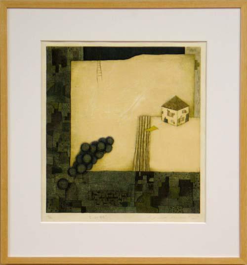 岩切裕子 額付き木版画 空っぽの部屋(2003年)