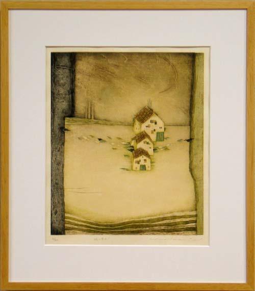 岩切裕子 額付き木版画 風の井戸(2003年)