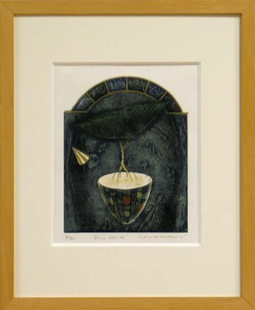 岩切裕子 額付き木版画 『Blue Velvet』 1999年