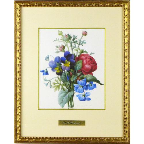 ルドゥーテ 額装品 『赤のラナンキュラス、紫と黄色のパンジーの花束』