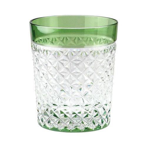 カガミクリスタル ロックグラス 江戸切子(麻の葉 紋) グリーン