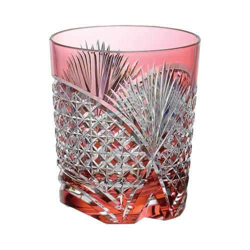 カガミクリスタル ロックグラス 江戸切子(笹っ葉に四角籠目紋) レッド